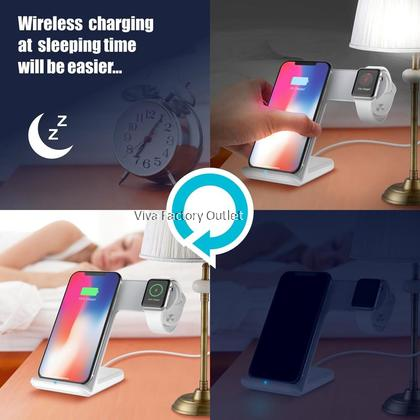 2 In 1 Fast Charging Qi Wireless Charger Stations For Apple Watch / IPhone X / 8 / 8Plus / Xr / Xs Samsung Note 8 / Note 9