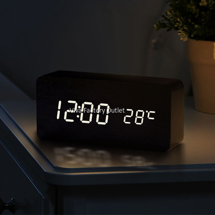 New Modern Wooden Table Alarm Clock With Thermometer And Sound Control
