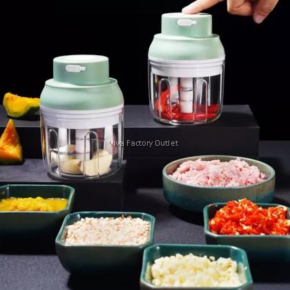 Mini Rechargeable Blender Food Processor Chopper Grinder Pencincang Makanan Bawang Garlic Travel Portable 100ML & 250ML