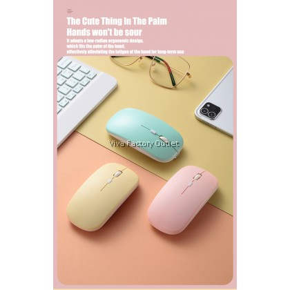 Slim Silent Rechargeable Wireless Bluetooth Mouse With Adjustable DPI For Iphone Ipad Android Tablet PC